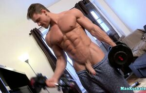 Scorching muscular jock masturbating..