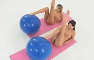 Completely Naked Balance Ball Exercise..
