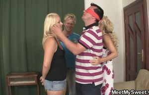 Jokey intercourse game with senior duo..