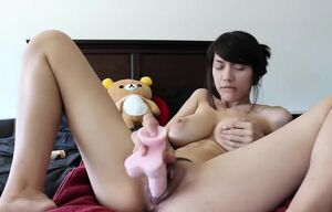 Japanese honey and her playthings on a..