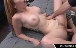 Red-haired Cougar Getting A Jizz In..