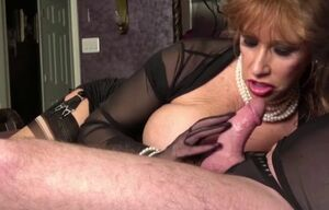 Ebony widow ginger gets a throatful by..