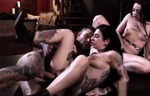 Xxx broads share fuck-stick in three way