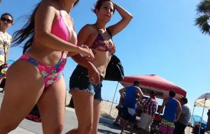 Candid latina in swimsuit with fat..