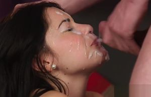 Frolic girl gets cum shot on her face..