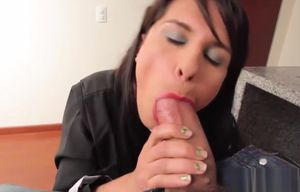 Transsexual maid spunked in throat..