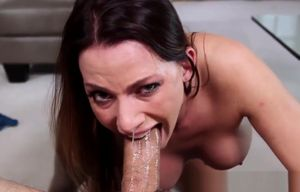 Big-titted fellating stunner choking